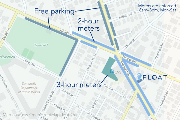 Parking map for FLOAT in Magoun Sq