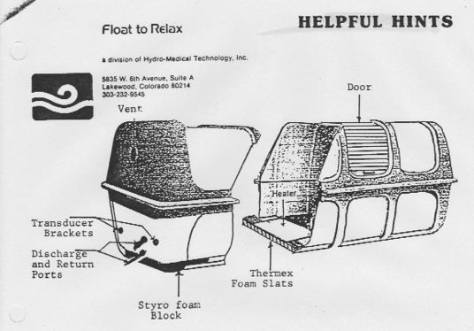 Float To Relax tank diagram