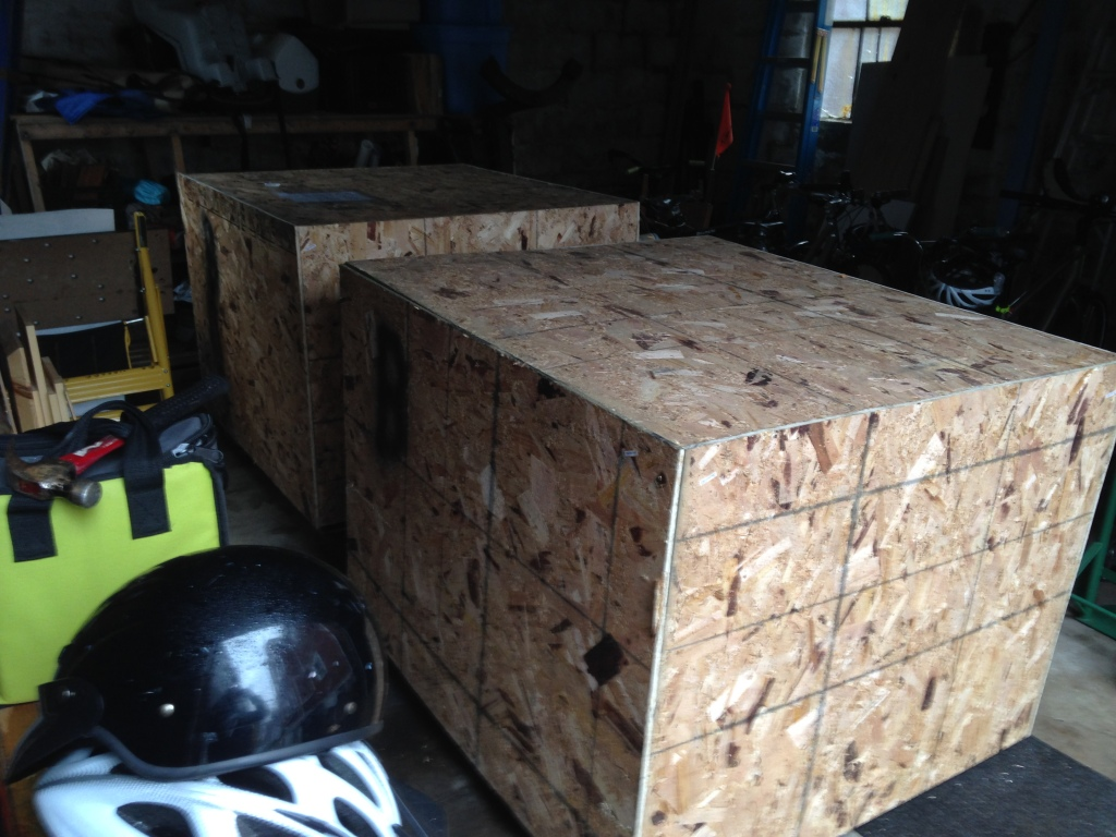 Crated float tanks in the garage