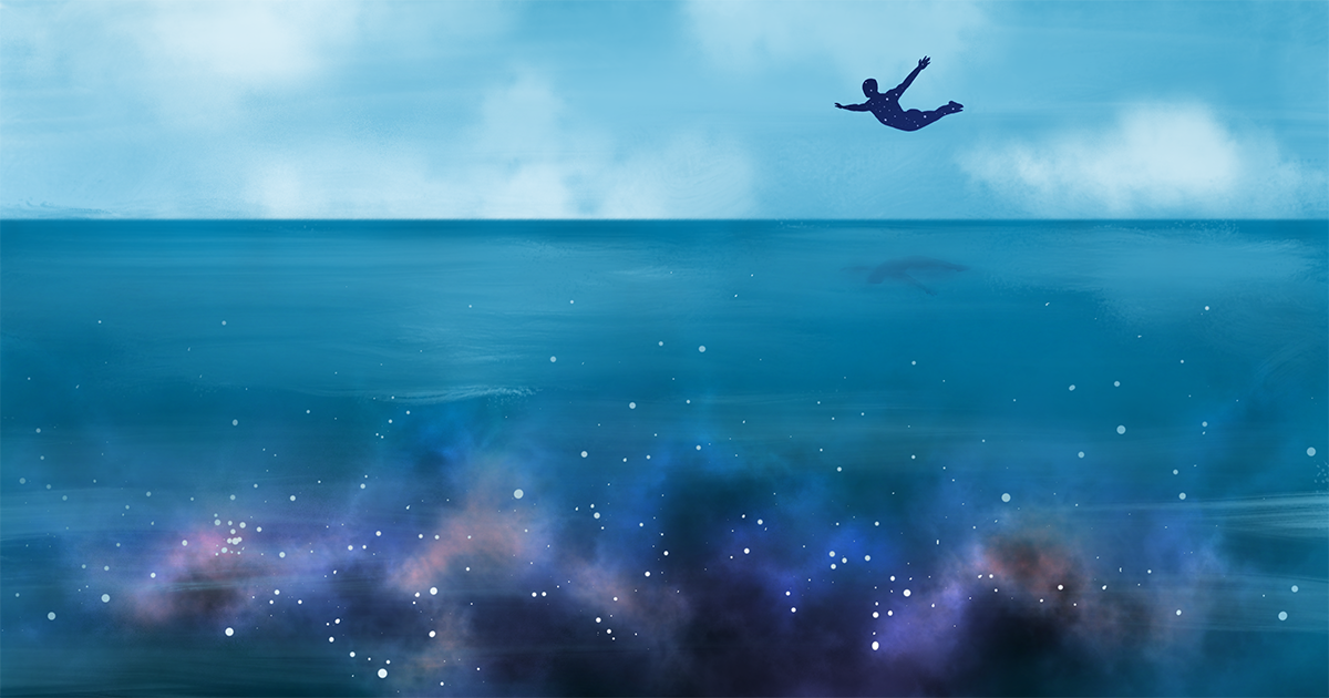 A figure in the distance swan-diving into a vast blue sea